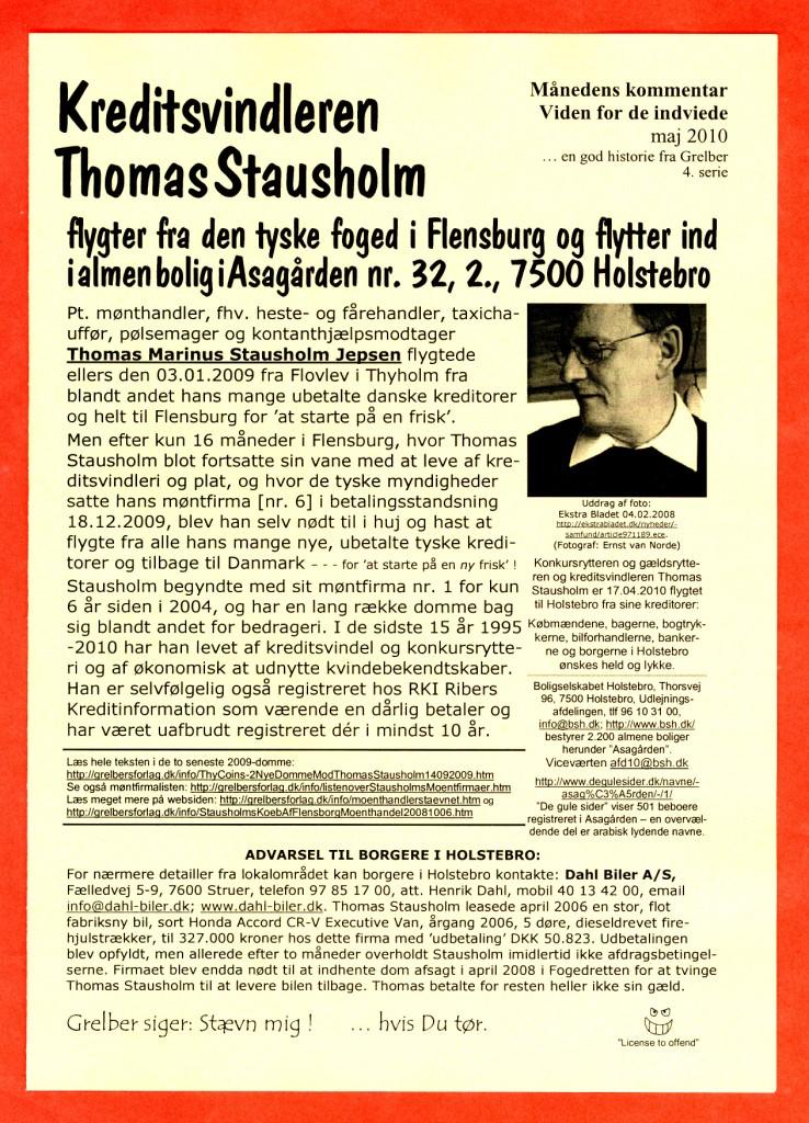 Manedens Kommentar Maj 2010 Kreditsvindleren Thomas Stausholm